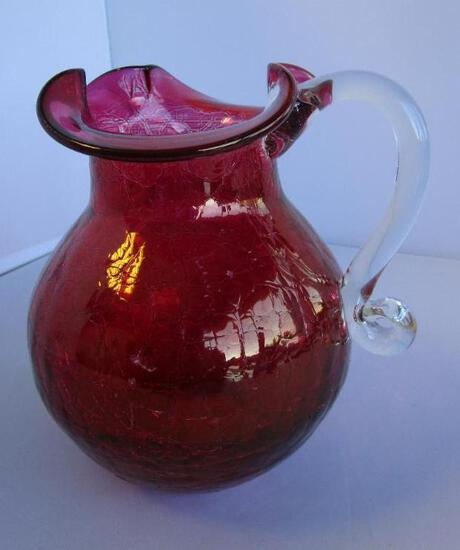 """Vintage cranberry-color crackle glass pitcher with handkerchief edges 6.5"""" tall"""