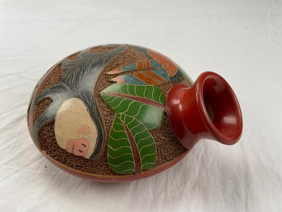 """African pottery water vessel with image of monkey and bird 7.5"""""""