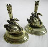 Set of silverplate and brass swan taper candlestick holders 4