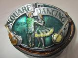 Leather belt Sz. 38 with square dancing belt buckle by Siskiyou Buckle Co.