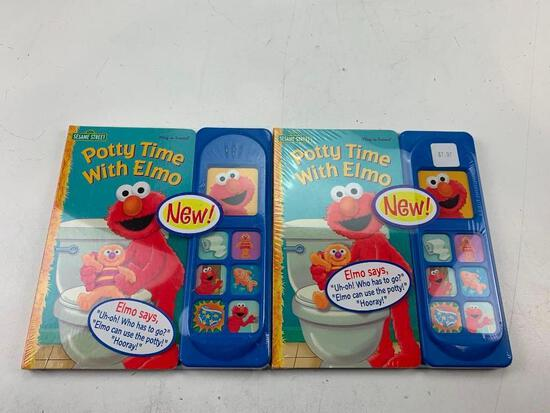 Lot of 2 Sesame Street Potty Time with Elmo Hardcover Books Potty Training Sound Book