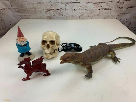 Lot of misc Man Cave Decor- Skull, dragon Gnome, Domino mask and a Rubber Monitor lizard
