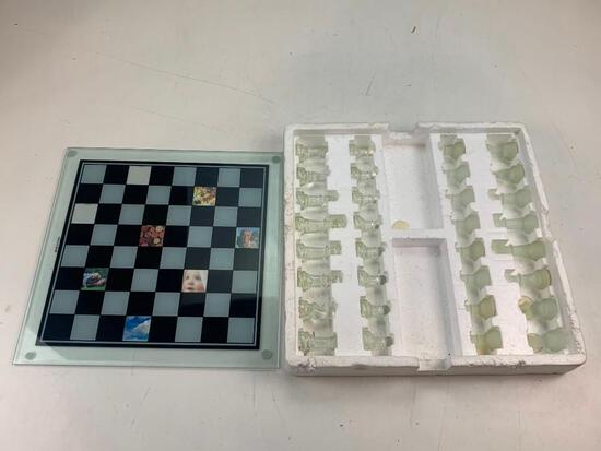 Glass Chess Set with all pieces also photos can be inserted into the chess board