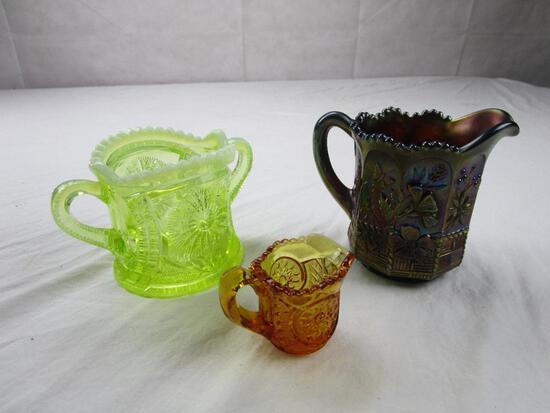 Lot of 3 vintage cut glassware pieces