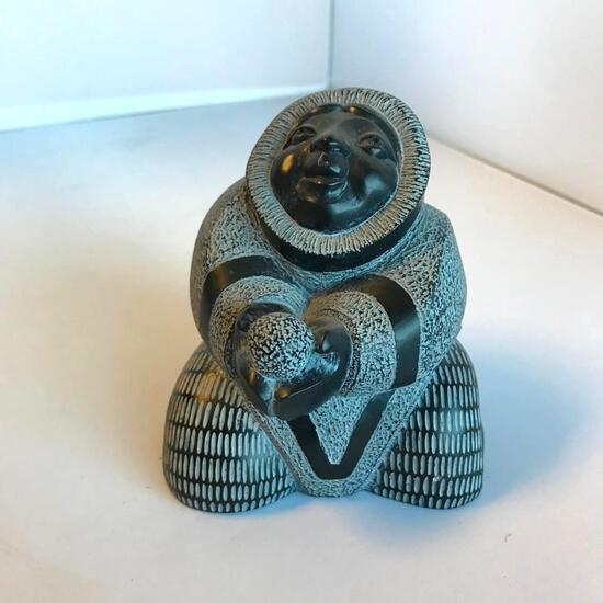 "Alaskan Carved Figurine of Eskimo Woman 3.75"" Tall"