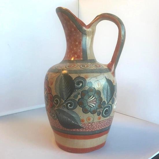 """Glazed Ceramic Hand-Painted Decorative Pitcher Vase 13"""" Tall, 7"""" Wide"""