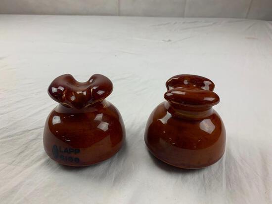 Lot of 2 Vintage Porcelain Brown Insulators