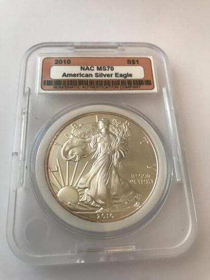 2010 American Eagle Silver Coin 1 oz 999 Fine Silver $1 Coin NAC MS70