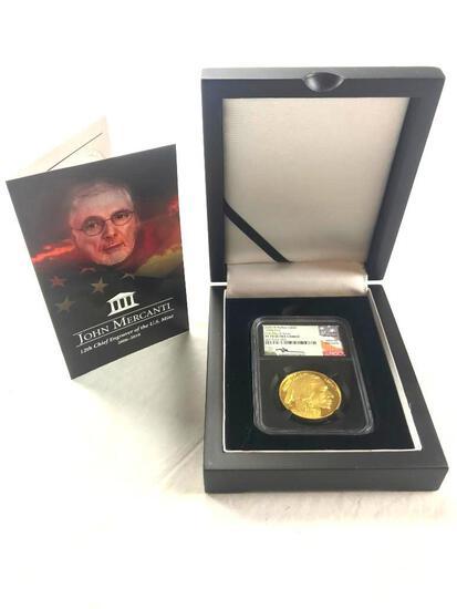 2020-W $50 Gold.9999 Fine Buffalo NCG PF70 Ultra Cameo Uncirculated Coin Signed John M Mercanti