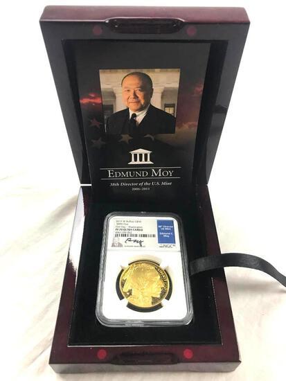 2019-W Buffalo $50 .9999 Fine Gold First Day - Washington NCG PF70 Ultra Cameo Coin Edmund C. Moy