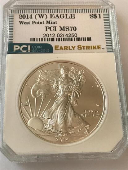 2014-W West Point American Eagle Silver Coin 1 oz 999 Fine Silver $1 Coin Early Strike PCI MS70