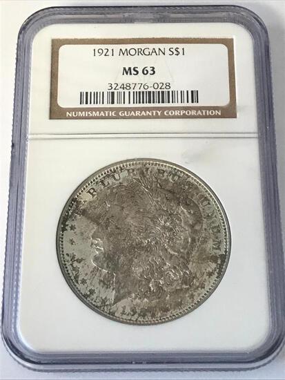 1921 Morgan Silver Dollar $1 Coin MGC MS63
