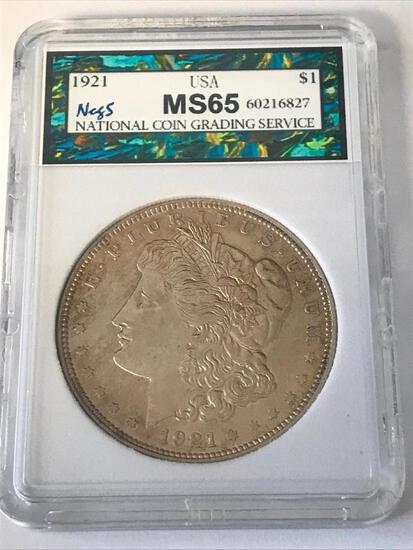1921 Morgan Silver Dollar $1 Coin NCGS MS65