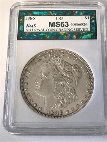 1886 Morgan Silver Dollar $1 Coin NCGS MS63