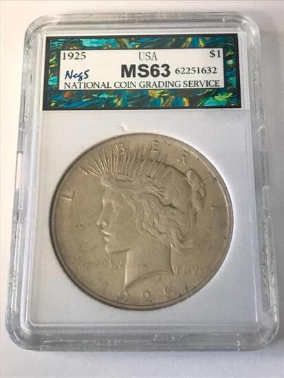 1925 Peace Silver Dollar $1 Coin NCGS MS63