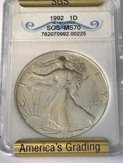 1992 $1 Silver Eagle Coin Graded SGS MS70