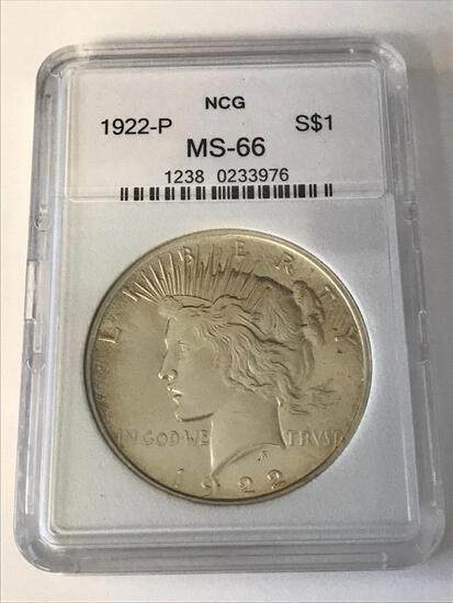 1922-P Peace Silver One Dollar Coin NCG MS66
