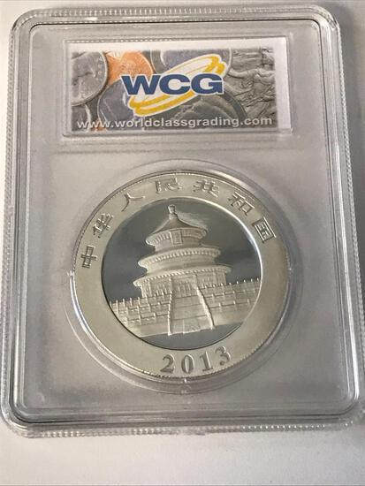 2013 China S10Y Panda 1oz .999 Silver Coin WCG MS70