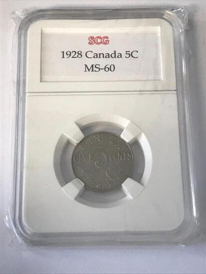 1928 Canada Five Cent Coin Graded SGC MS-60