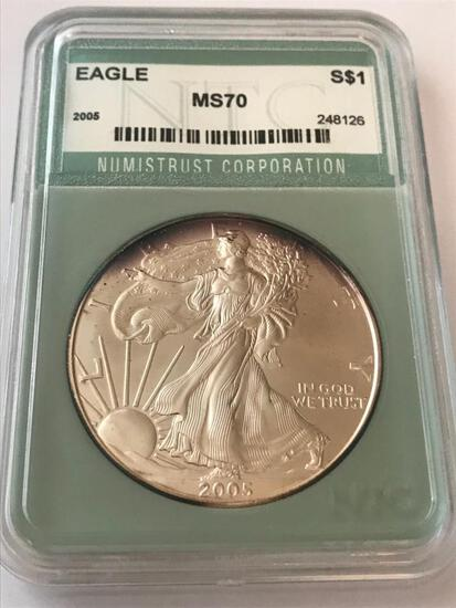 2005 American Eagle Silver Coin 1 oz 999 Fine Silver $1 Coin Numistrust Corp MS70