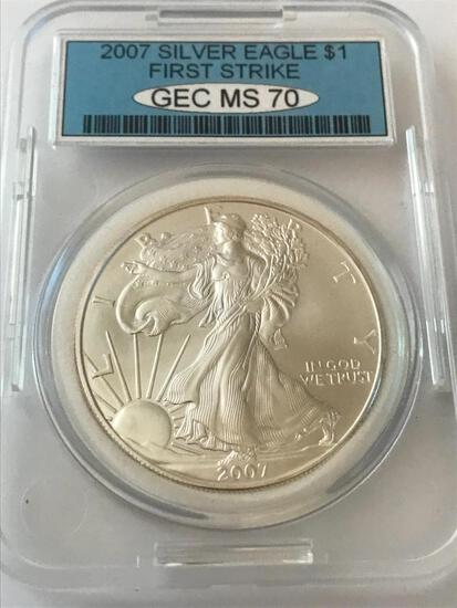 2007 American Eagle Silver Coin 1 oz 999 Fine Silver $1 Coin First Strike GEC MS70