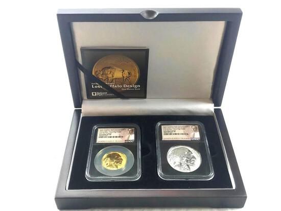 2021 Fraser Lost Buffalo 3-Medal Set Ultra High Relief Gold + Silver Reverse Proof Medals #068/4999