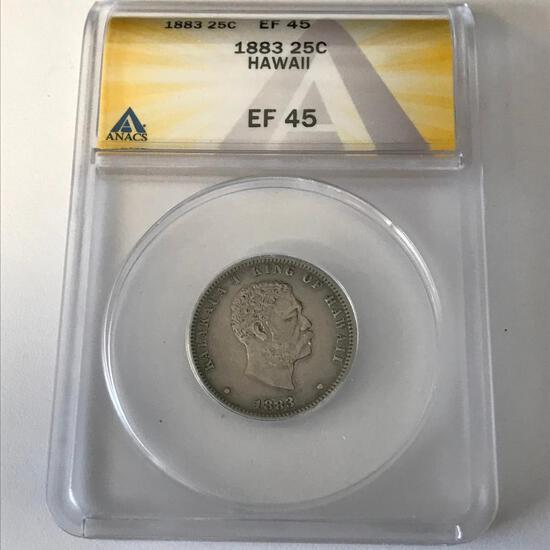 1883 Hawaii Quarter 25 Cent ANACS EF45
