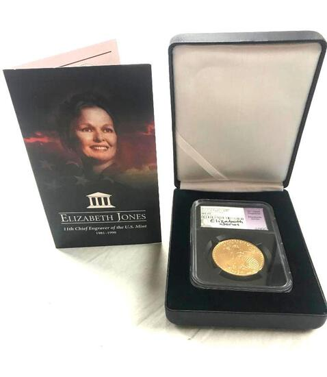 2019-W Burnished Gold Eagle $50 First Day of Issue NGC MS70 Signed by Elizabeth Jones