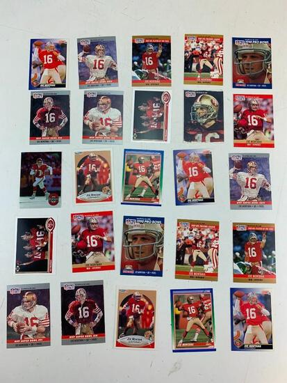 JOE MONTANA Hall Of Fame Lot of 25 Football Cards