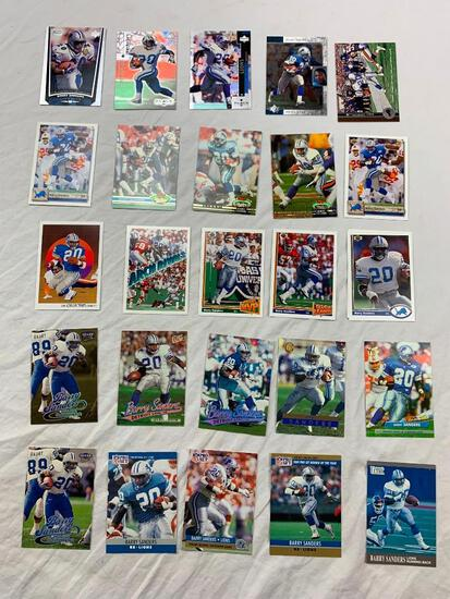 BARRY SANDERS Hall Of Fame Lot of 25 Football Cards