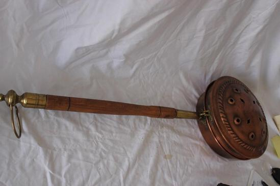 """31"""" Vintage Copper and Brass With Wood Handle Coal Carrier"""