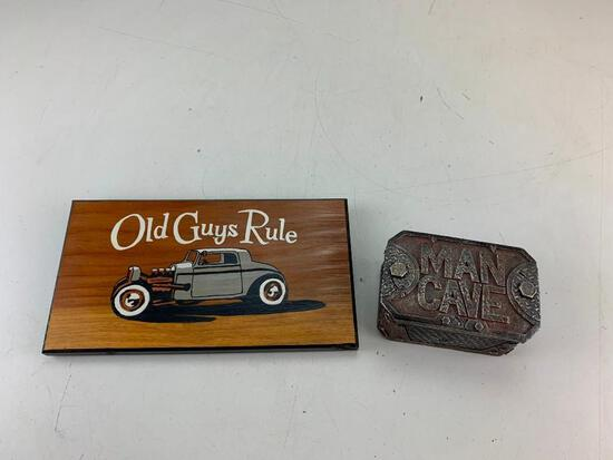 Man Cave storage contain and a Old Guys Rule Wood wall plaque