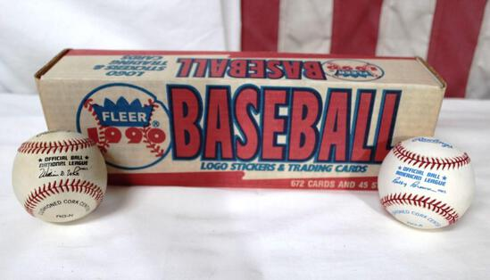 Lot of * Fleer 1990 sealed card set * 1 official NL ball * 1 official AL ball
