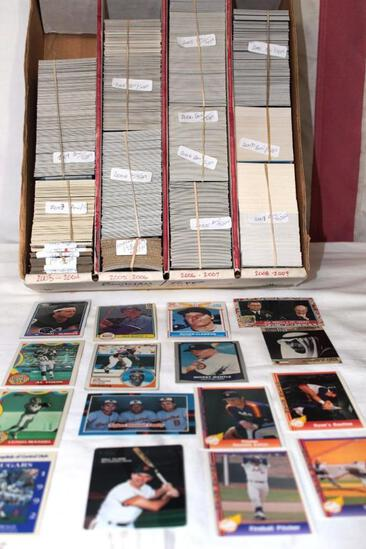 Over 2000, 2003 -2009 baseball cards sorted by company, Bowman, Topps, Donrus, Leaf, Pacific +