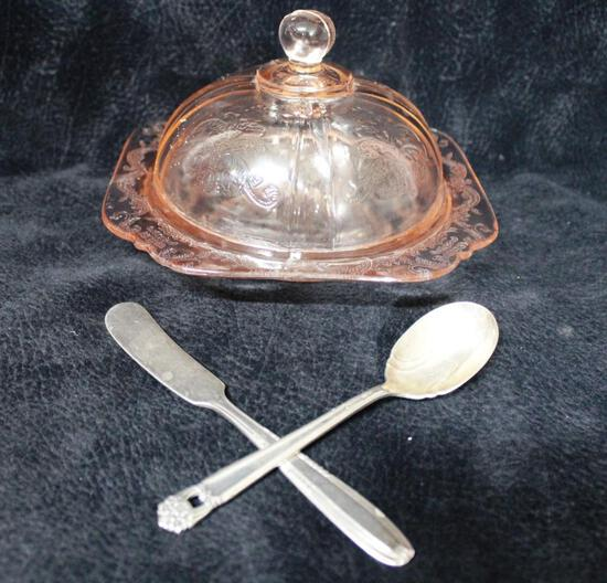 Vintage pink patterned depression glass butter dish, with butter knife and jam spoon