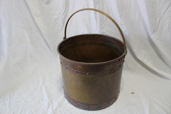 large Vintage Copper and Brass Bucket with Handle