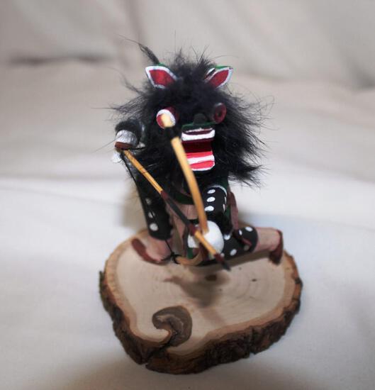 Native American Wolf Mask doll, kneeling, bow shot F. Begay artist