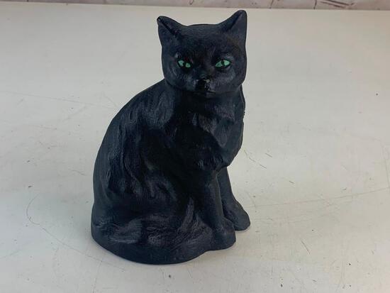Vintage Cast Iron Black Cat with Green Eyes Doorstop