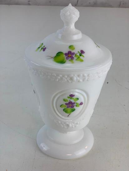 Vintage Fenton candy dish with lid with Violets signed