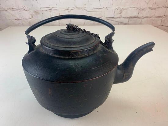 Antique Primitive Cast Iron Fireplace Kettle Tea Coffee Pot 1800's