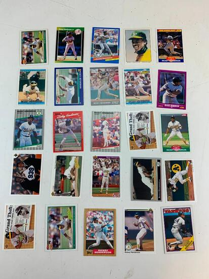 RICKEY HENDERSON Hall Of Fame Lot of 25 Baseball Cards