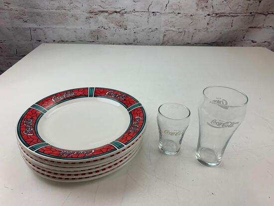 """Coca Cola Coke Lot of 6 10.5"""" Plates and 2 Drink Glasses"""