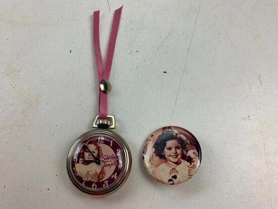 Sherly temple pocket watch and Button