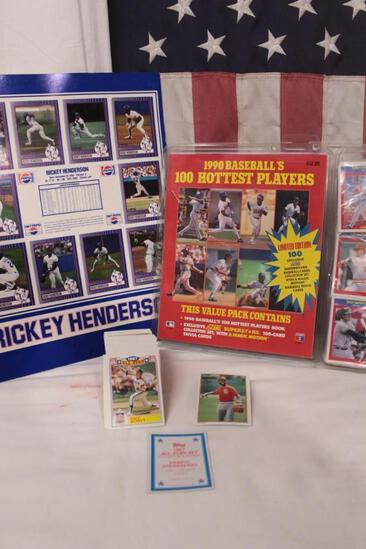 Lot of * 1987 All Star Set * 1990 100 hottest players * Ricky Henderson card poster , PepsiCo