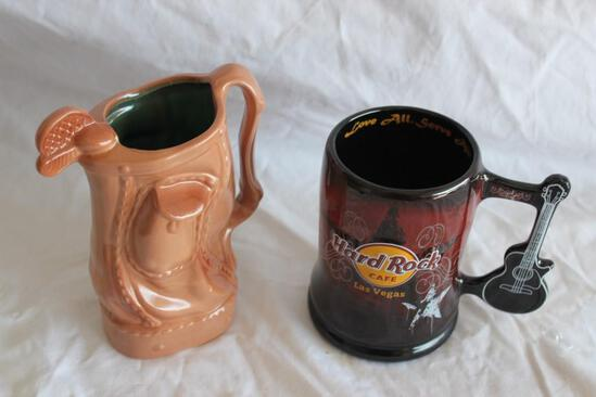 Ceramic Gold Bag and a Ceramic Hard Rock Mug