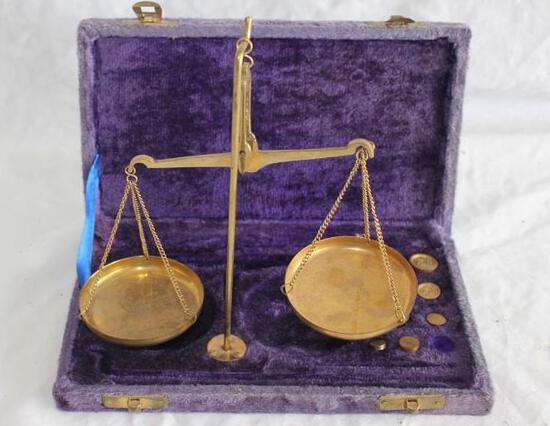 Vintage Gold Scale With Weights And Case