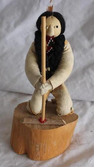 Old Vintage Navajo Figure Making a Fire. Signed