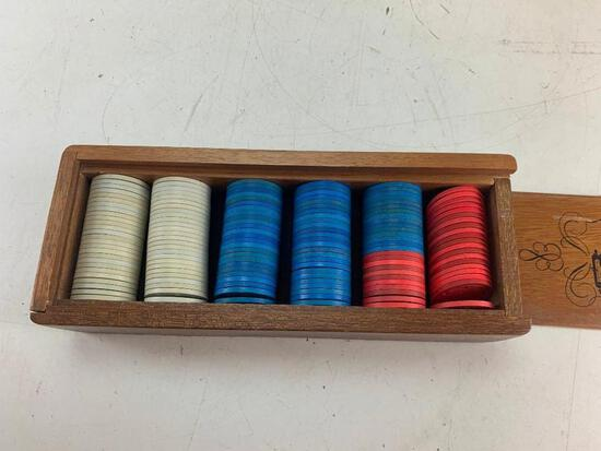 Official casino gaming chips with wood storage box