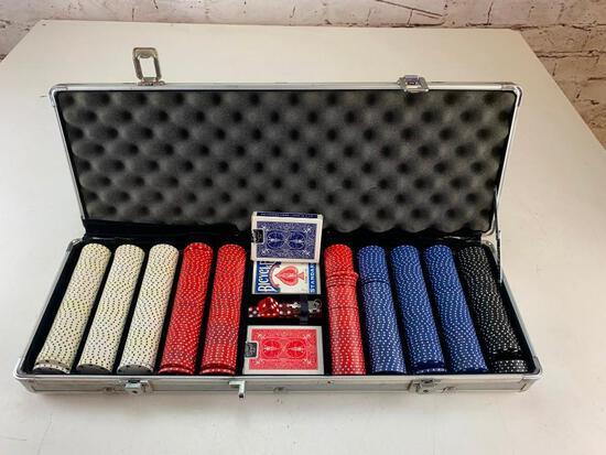 500PCS Chips Poker Dice Chip, Decks of cards Set with Aluminum Case