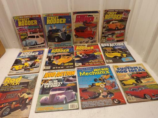 LOT OF 12 VINTAGE CAR MAGAZINES 1970s RAT ROD HOT ROD ETC